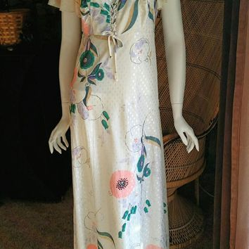 70's Penny's Hawaii Floral Maxi Dress, Tropical Pastel Paradise Dress, Laced Bodice, Flutter Sleeve, Bohemian Dress, Hawaiian Dress, MD