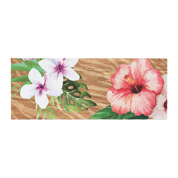 "NL designs ""Vintage Tropical Jungle "" Pink Floral Bed Runner"