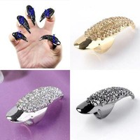 False Claw Talon Finger Nail Ring Full Crystal Gothic Punk Cool Fancy Dress
