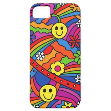 Smiley Face Rainbow and Flower Hippy Pattern iPhone 5 Cases from Zazzle.com
