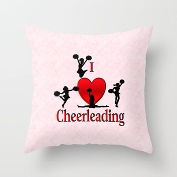 I Heart Cheerleading Throw Pillow by Leatherwood Design