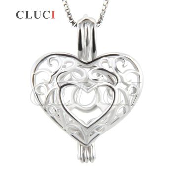 CLUCI women jewelry vintage Patterned Heart necklace pendant in 925 sterling silver locket wish pearls metal cage pendant 3pcs