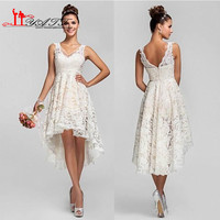 Vintage Full Lace Country Wedding Dresses 2016 V neck High Low Wedding Bridal Dresses Sleeveless Ivory Short bridal Gowns