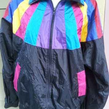 Vintage 80s Rainbow & Black Baggy Nylon Windsuit Track Jacket Windbreaker Size S
