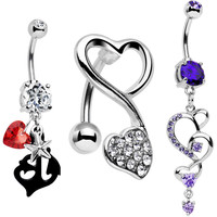 Stainless Steel Art of Love Heart Belly Button Ring Set of 3