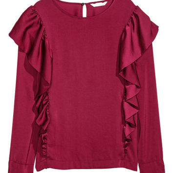 Satin Blouse with Ruffles - from H&M