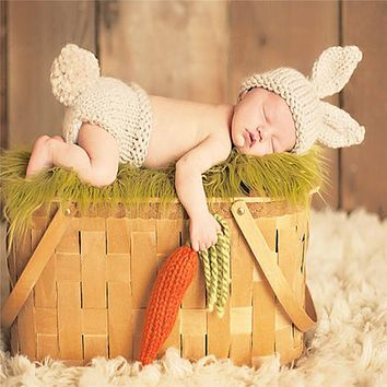 Newborn Infant Handmade Baby Photography Props Knitted Crochet Hat Rabbit Hat Woolen Baby Clothing Lovely Baby Photo Props