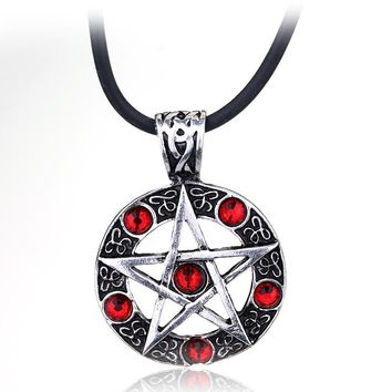dongsheng Supernatural Pentagram Pendant Necklace Rope Chain Dean Winchester Star Necklaces Silver Color Red Crystal Jewelry