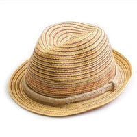 Multicolor Weave Embellished Straw Hat