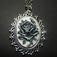 Gothic black rose goth cameo necklace pendant on 24 inch aged silver tone oval link chain