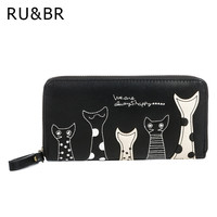 RU&BR New Cat Cartoon Printed Women Wallets Long Wallet Female Card Holder Casual Zipper Ladies Clutch PU Leather Coin Purse