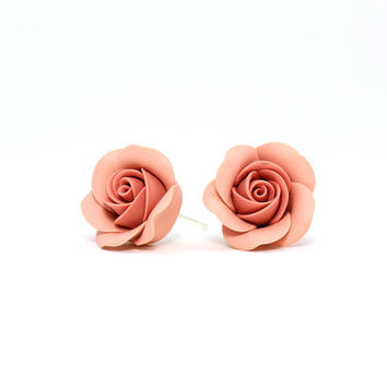 "Small Stud Earrings ""Rose"" Peach Pink Earrings Floral Earrings Gift for Her Romantic Jewelry Feminine and Delicate Earstuds"