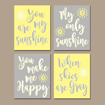 YELLOW Gray Nursery Wall Decor, You Are My SUNSHINE Wall Art, My Sunshine Canvas or Prints, Yellow Gray Baby Girl NURSERY Wall Art, Set of 4