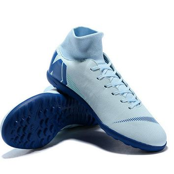 Nike Mercurial Superfly X VI Elite TF Mens Soccer Cleats Grey Blue Online Store