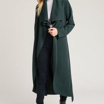 Sundays In the Park Long Trench Coat in Hunter Green or Mocha