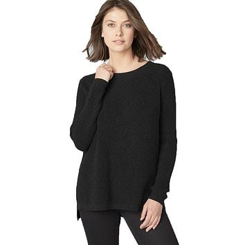 Emma Shaker Stitch Sweater in Black by 525 America