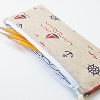 Nautical Pencil Case, Sailboat Zipper Pouch, Linen Makeup bag, Red, White, and Navy