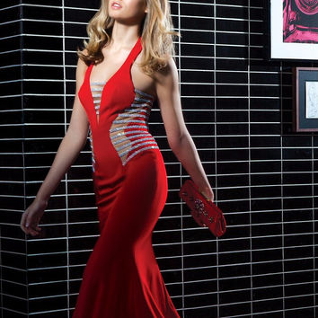 Colors 1312 In Stock Red SZ 2 Sheer Illusion Jewel Banded Prom Dress Evening Gown