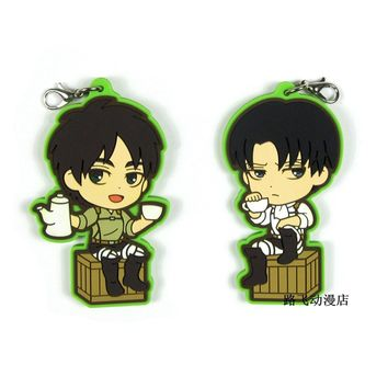 Cool Attack on Titan  Eren Jaeger Levi Ackerman  Action Figure Anime Model Rubber Mobile Phone Keychain Pendant Christmas Gifts 6cm AT_90_11