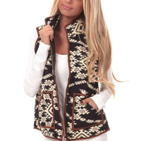 Black Vest with Tribal Design and Faux Suede Trim