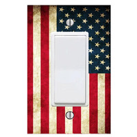 American Flag Light Switch Cover Wall Decals Rocker Style Switch Plate LS48SF