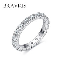 BRAVKIS round crystal eternity band rings for women cubic zircon wedding bands engagement ringen jewelry anillos bijoux BUR0357