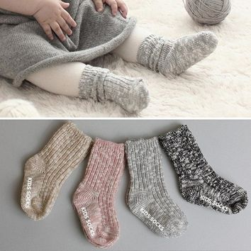 Children Mix Color Boys Girls Warm Thick Calf Length Crew Socks