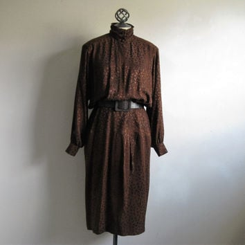 Vintage 1980s Silk Dress ESCADA Dark Brown Black Animal Print Silk Margaretha Ley 80s Dress 40 US8