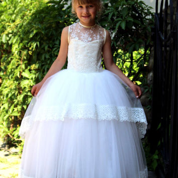 Girls Wedding Holiday Pageant Flower Ivory Lace Dress