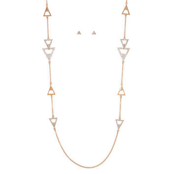 Long Gold Tone Necklace and Earring Set Featuring Geometric Shapes with Crystal Rhinestones