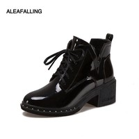 Aleafalling Classical Lace Up Ankle Women Boots Street New Outdoor Style Girls High Heel Boots Women Shoes Shinny Leather WBT149