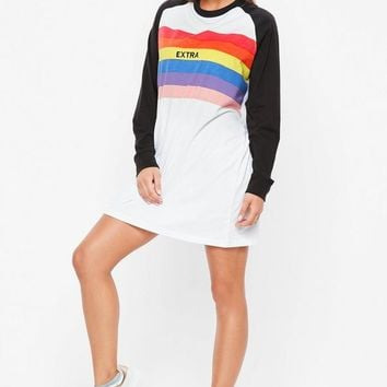 Missguided - Black Contrast Rainbow Extra Slogan T Shirt Dress
