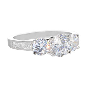 Silver Cocktail Ring 3 Stone 1.75ct Cubic Zirconia Womens 5x7x5 Sizes 5,6,7,8,9