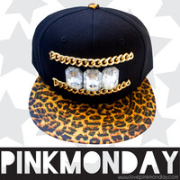 Gold Chain and Jeweled Black and Cheetah Print Snapback / Women Girls / Clear Jewel Gems / Leather Strap / One Size Fits All