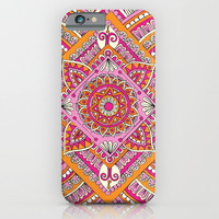 Pink & Tangerine Diamond Mandala iPhone & iPod Case by Sarah Oelerich