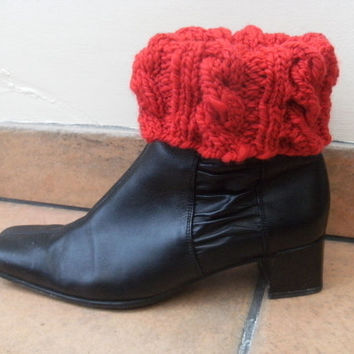Boot Cuffs Red Merino Handspun Knitted