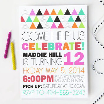 Custom Girls Birthday Invitation Modern Colorful Sleepover Slumber Party Geometric Invite Girl Birthday Party Invitation Kids Personalized