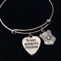 My Heart Belongs to a Policeman Expandable Silver Charm Bracelet Adjustable Bangle Occupational Police Badge Department Wife Gift