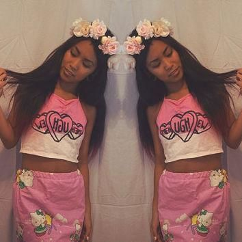 reject conversation heart pink ombre halter crop top