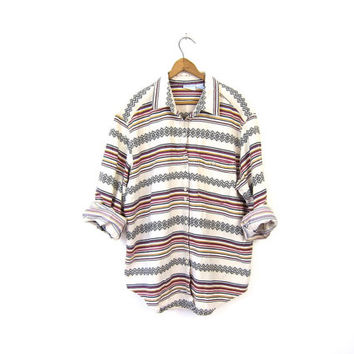 Southwestern Button Up Shirt 90s Boho Tribal Print Cotton Shirt Long Sleeve Striped 1990s Vintage Western Tomboy Shirt Womens XL Plus