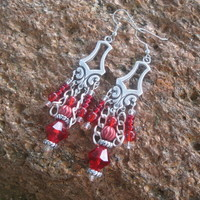 Neo-Classical Red Drop Earrings