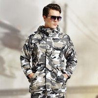 Men Fleece Outdoors Costume Long Sleeve Thicken Camouflage Jacket [6581656135]