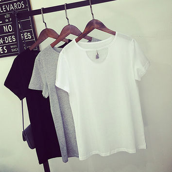 Womens Simple Style T-Shirts Blouse Summer Gift 44