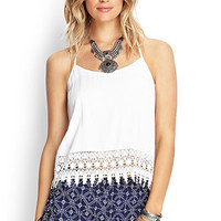 FOREVER 21 T-Back Crochet Cami Cream Large