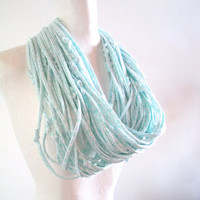 Mint Green Infinity Scarf Seafoam Green Circle Scarf Upcycled Clothing Pale Blue White Cowl Scarf Winter Accessories