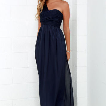 City Soiree Navy Blue One Shoulder Maxi Dress