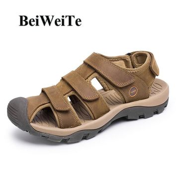 BeiWeiTe Summer Men's Beach Sandals Closed Toe Safety Anti-skid Beach Shoes Man Outdoor Genuine Leather Tourism Walking Sneaekrs