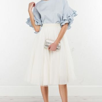Sleeve Detail Top in White, Black and Light Blue
