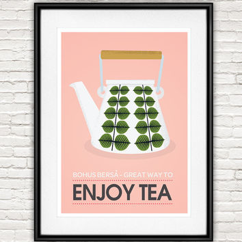 Tea print, Tea poster, kitchen wall art, retro poster, vintage kitchen decor, tea time, tea quote, tea love, but first tea, Stig Lindberg,