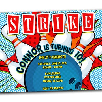 Bowling Invitation - Blue Bowling Birthday Party Invitations - Teen Cosmic Bowling Birthday Invite - Boys - Kids - Strike Comic Retro Adult